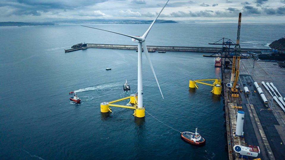 Floating wind turbine at port